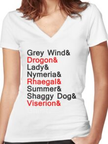 The Direwolves and The Dragons Women's Fitted V-Neck T-Shirt
