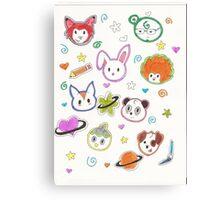 Chibi animals  Canvas Print