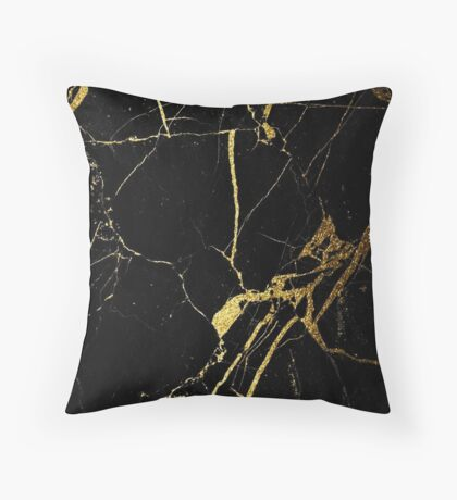 Black and Gold Marble  Throw Pillow