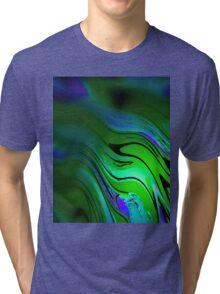 Green Blue Wavy Tri-blend T-Shirt