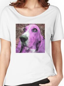 Basset Hound - Pop Art Pink Women's Relaxed Fit T-Shirt