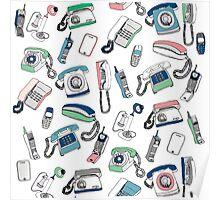 Vintage telephones drawing Poster