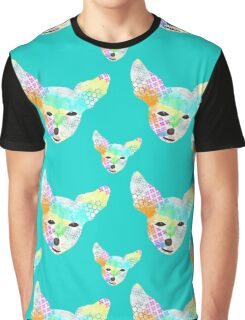 Rainbow Chihuahua Teal Graphic T-Shirt