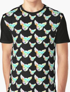 Rainbow Chihuahua Black Background Graphic T-Shirt