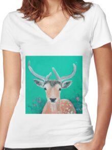 Reindeer for Christmas Women's Fitted V-Neck T-Shirt