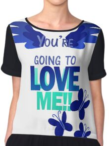 Quotes and quips - LOVE ME!! - inverted Chiffon Top