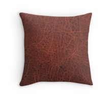 Faux Animal Skin, Leather Brown Throw Pillow