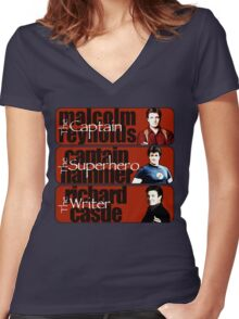 The Captain, The Superhero, and The Writer Women's Fitted V-Neck T-Shirt