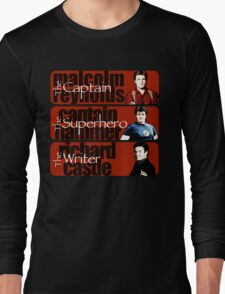 The Captain, The Superhero, and The Writer Long Sleeve T-Shirt