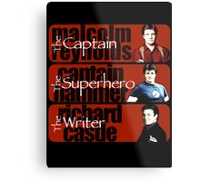 The Captain, The Superhero, and The Writer Metal Print