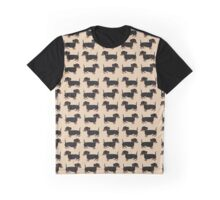 Black and Brown Dachshunds Pattern Graphic T-Shirt