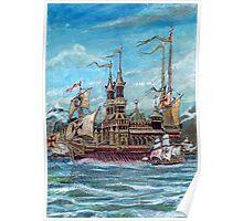 Church of Santa Maria Veracruz With The Armada Off Orkney 1588 Poster