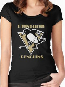 Penguins Go Yellow Penguins Women's Fitted Scoop T-Shirt