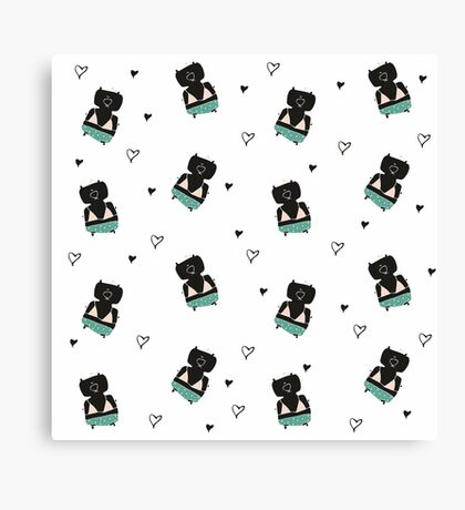 Teddies in swimming suits Canvas Print