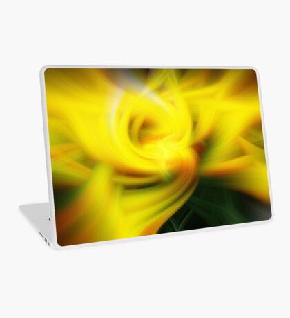 Yellow Tulip in Abstract Laptop Skin