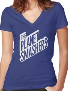 The Planet Smasher Women's Fitted V-Neck T-Shirt