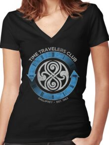 time traveler s club gallifrey Women's Fitted V-Neck T-Shirt