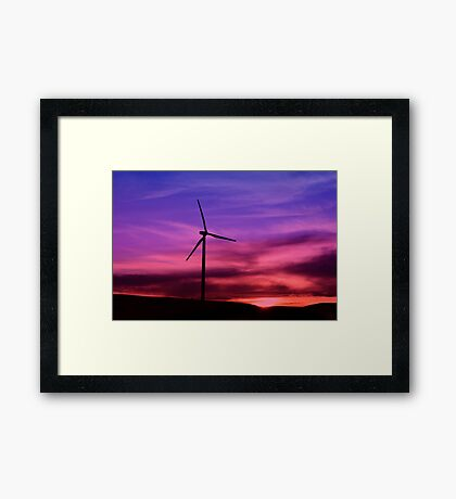 Sunset Windmill Framed Print