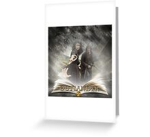 Outlander book with Jamie and Claire Greeting Card
