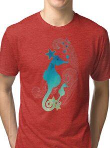 Watercolor Seahorses Art Tri-blend T-Shirt