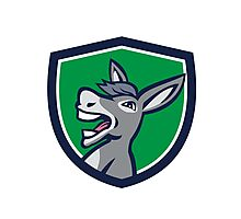 Donkey Head Shouting Crest Retro Photographic Print