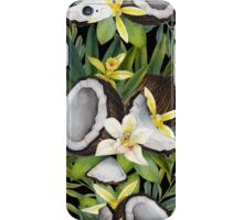 Watercolor vanilla flowers and coconut iPhone Case/Skin