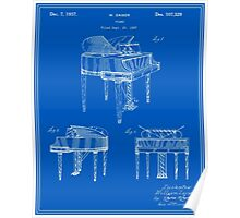 Piano Patent - Blueprint Poster