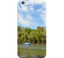 Park scenery with dramatic sky and trees by the river. iPhone Case/Skin