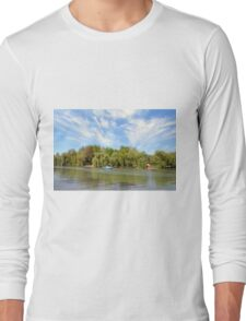 Park scenery with dramatic sky and trees by the river. Long Sleeve T-Shirt