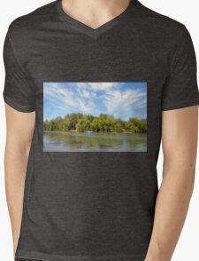 Park scenery with dramatic sky and trees by the river. Mens V-Neck T-Shirt