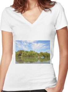 Park scenery with dramatic sky and trees by the river. Women's Fitted V-Neck T-Shirt