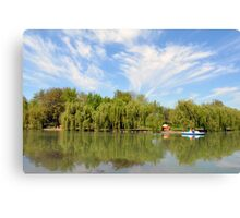 Park scenery with dramatic sky and trees by the river. Canvas Print