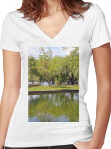 Trees reflected in the water in the park. Women's Fitted V-Neck T-Shirt