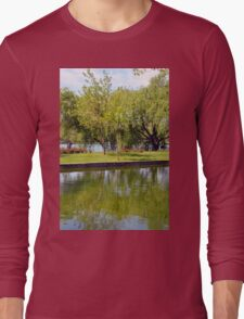 Trees reflected in the water in the park. Long Sleeve T-Shirt