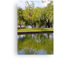 Trees reflected in the water in the park. Canvas Print