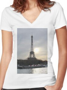 Eiffel Tower With A Sunset Landscape Women's Fitted V-Neck T-Shirt