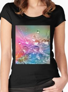 Colorful Water Drops on Dandelion Flower Women's Fitted Scoop T-Shirt