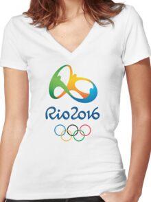 OLIMPIADE rio janeiro brazil Women's Fitted V-Neck T-Shirt