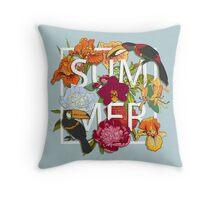 Floral and birds toucans Throw Pillow