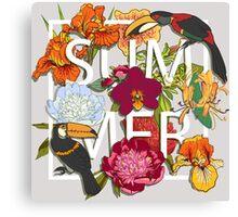 Floral and birds toucans Canvas Print