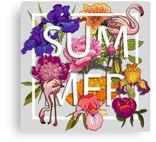 Floral and birds flamingos summer  Canvas Print