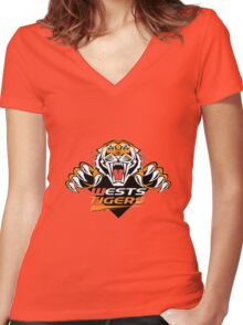 Wests Tigers  Women's Fitted V-Neck T-Shirt
