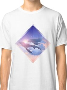 Graphic whales flying in the nigh sky Classic T-Shirt