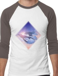 Graphic whales flying in the nigh sky Men's Baseball ¾ T-Shirt