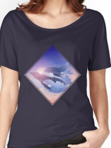 Graphic whales flying in the nigh sky Women's Relaxed Fit T-Shirt