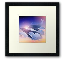 Graphic whales flying in the nigh sky Framed Print