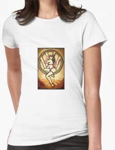 Split screen pin up girl Womens Fitted T-Shirt