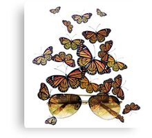 Watercolor monarch butterflies flying out of aviator sunglasses Canvas Print