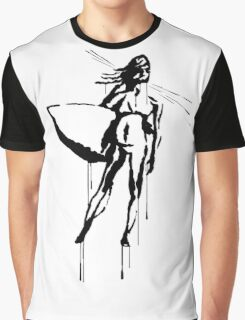 Splatter Surfer Girl (black) Graphic T-Shirt