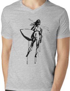 Splatter Surfer Girl (black) Mens V-Neck T-Shirt